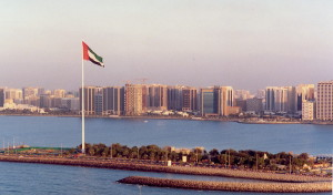 Our first of many World Record Flagpoles – Abu Dhabi 123 m, Erected in July 2001.
